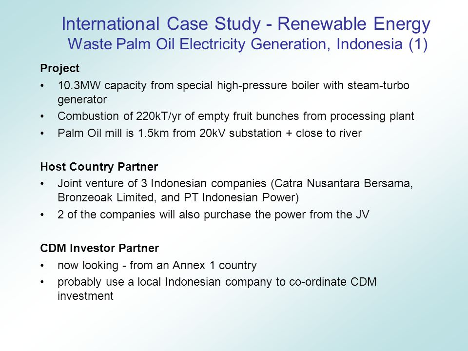 International Case Study - Renewable Energy Waste Palm Oil Electricity Generation, Indonesia (1) Project 10.3MW capacity from special high-pressure boiler with steam-turbo generator Combustion of 220kT/yr of empty fruit bunches from processing plant Palm Oil mill is 1.5km from 20kV substation + close to river Host Country Partner Joint venture of 3 Indonesian companies (Catra Nusantara Bersama, Bronzeoak Limited, and PT Indonesian Power) 2 of the companies will also purchase the power from the JV CDM Investor Partner now looking - from an Annex 1 country probably use a local Indonesian company to co-ordinate CDM investment