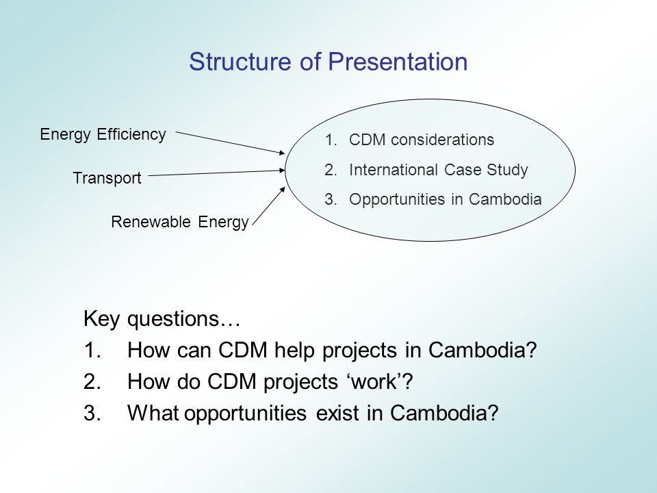 Next Steps Raise Stakeholder Awareness of Benefits Government, Project Developers, Private Industry, Investors, International Developers and CDM Investors Project Identification + Pipeline Resource assessments + industry studies/surveys + energy audits Project Design Feasibility Studies Consultation with communities, authorities Project Promotion + Financing Seek partners for finance + investment + co-ordination Will CDM help this project? Yes: Start CDM Cycle No: Find alternative funding