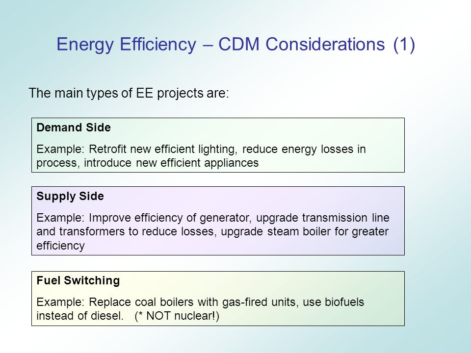 Energy Efficiency – CDM Considerations (1) The main types of EE projects are: Demand Side Example: Retrofit new efficient lighting, reduce energy losses in process, introduce new efficient appliances Supply Side Example: Improve efficiency of generator, upgrade transmission line and transformers to reduce losses, upgrade steam boiler for greater efficiency Fuel Switching Example: Replace coal boilers with gas-fired units, use biofuels instead of diesel.