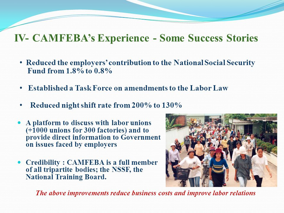 IV- CAMFEBA's Experience - Some Success Stories A platform to discuss with labor unions (+1000 unions for 300 factories) and to provide direct information to Government on issues faced by employers Credibility : CAMFEBA is a full member of all tripartite bodies; the NSSF, the National Training Board.