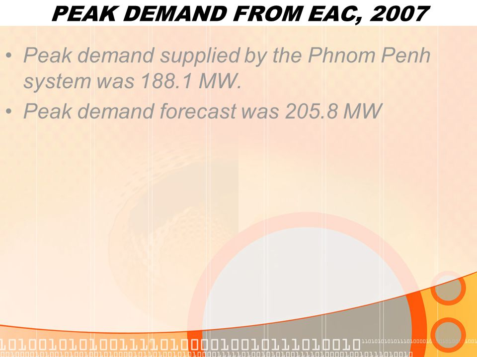 PEAK DEMAND FROM EAC, 2007 Peak demand supplied by the Phnom Penh system was 188.1 MW.