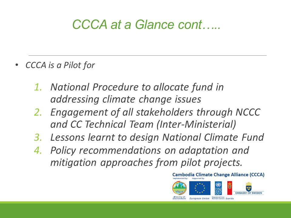 CCCA at a Glance cont…..