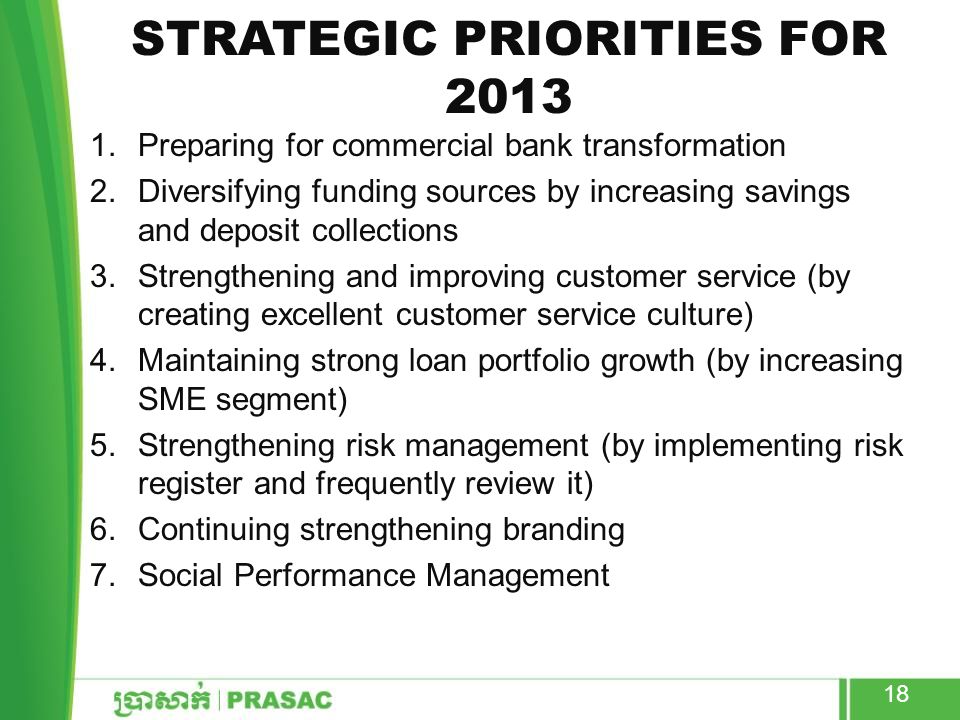 STRATEGIC PRIORITIES FOR 2013 1.Preparing for commercial bank transformation 2.Diversifying funding sources by increasing savings and deposit collecti