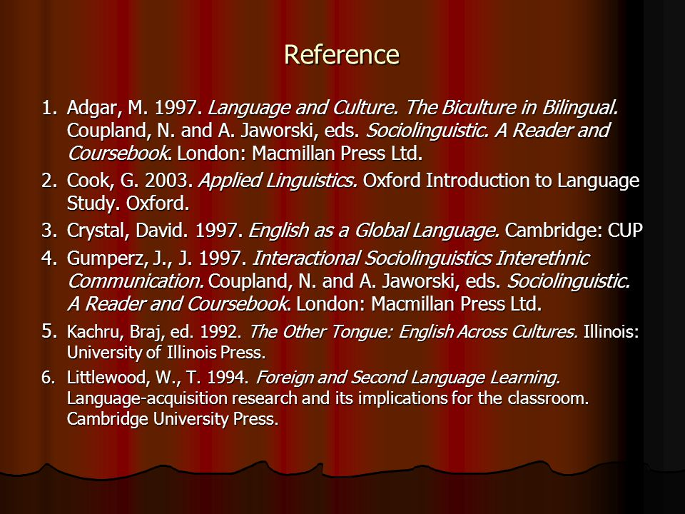 Reference 1.Adgar, M. 1997. Language and Culture. The Biculture in Bilingual. Coupland, N. and A. Jaworski, eds. Sociolinguistic. A Reader and Courseb