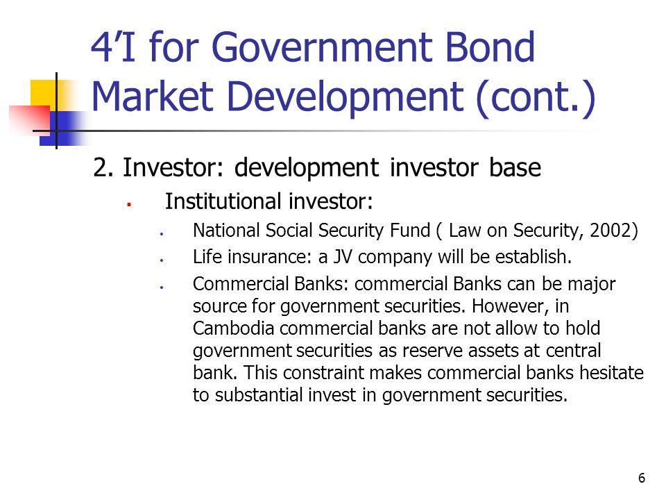 6 4'I for Government Bond Market Development (cont.) 2. Investor: development investor base  Institutional investor: National Social Security Fund (