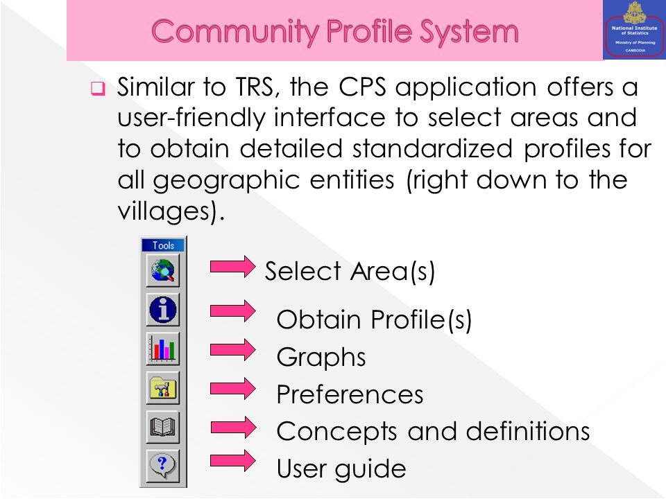  Similar to TRS, the CPS application offers a user-friendly interface to select areas and to obtain detailed standardized profiles for all geographic entities (right down to the villages).