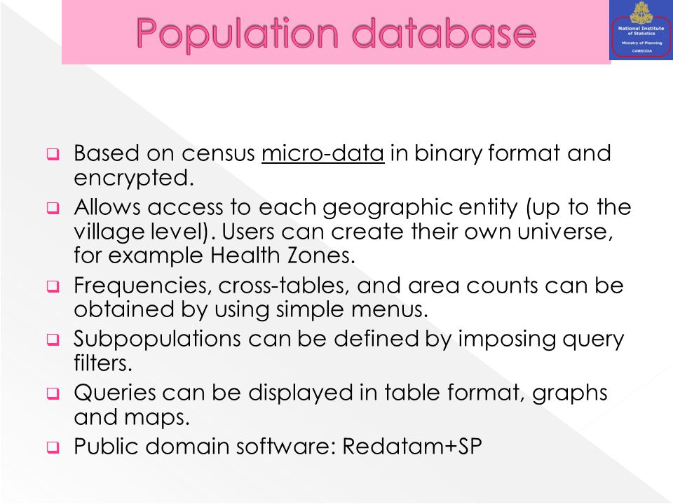  Based on census micro-data in binary format and encrypted.