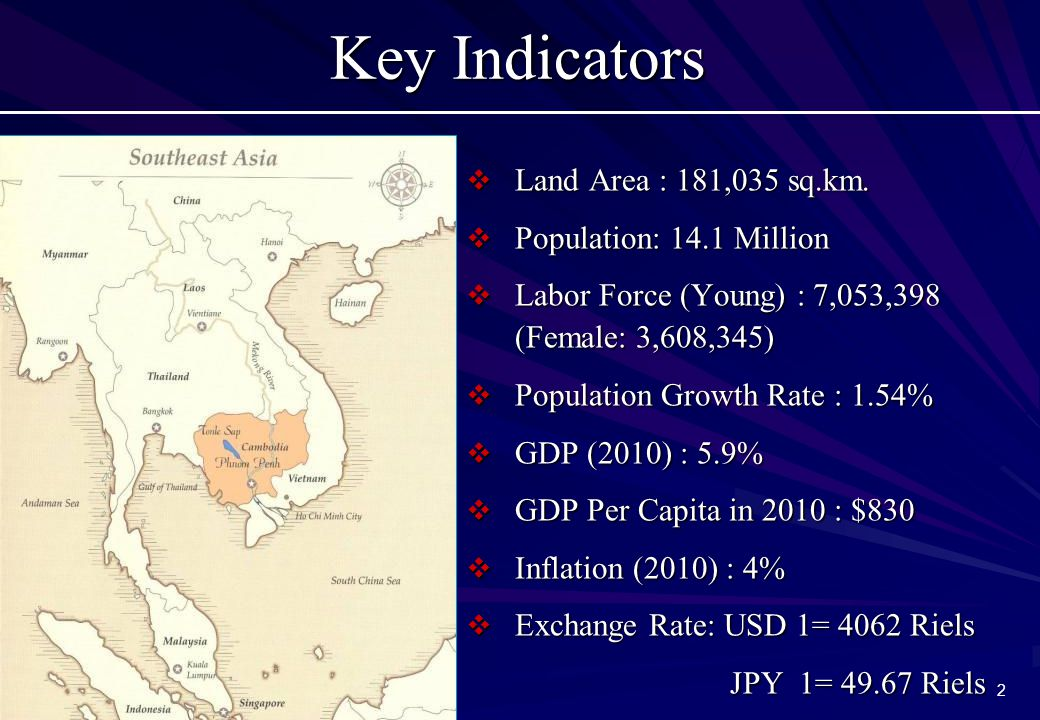 2 Key Indicators  Land Area : 181,035 sq.km.