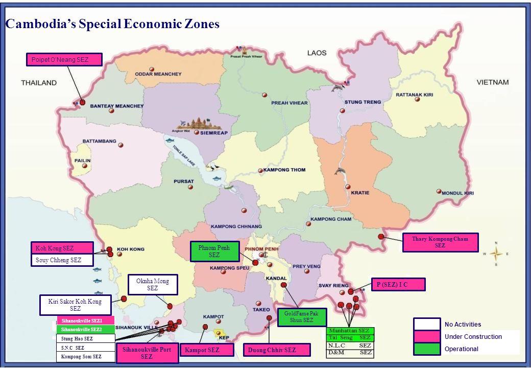 25 Cambodia's Special Economic Zones No Activities Under Construction Operational Kampot SEZ Sihanoukville Port SEZ Poipet O'Neang SEZ Sihanoukville SEZ1 Sihanoukville SEZ2 Stung Hao SEZ S.N.C SEZ Kompong Som SEZ Koh Kong SEZ Souy Chheng SEZ Oknha Mong SEZ Kiri Sakor Koh Kong SEZ P (SEZ) I C Thary Kompong Cham SEZ GoldFame Pak Shun SEZ Duong Chhiv SEZ Phnom Penh SEZ