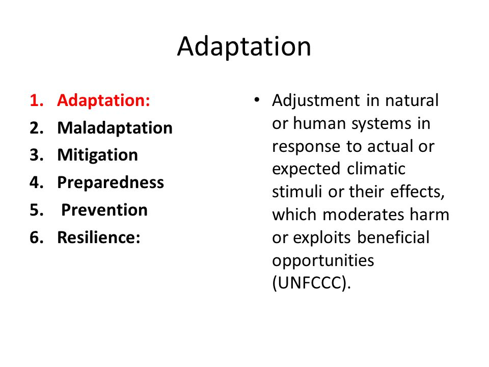 Adaptation 1.Adaptation: 2.Maladaptation 3.Mitigation 4.Preparedness 5. Prevention 6.Resilience: Adjustment in natural or human systems in response to