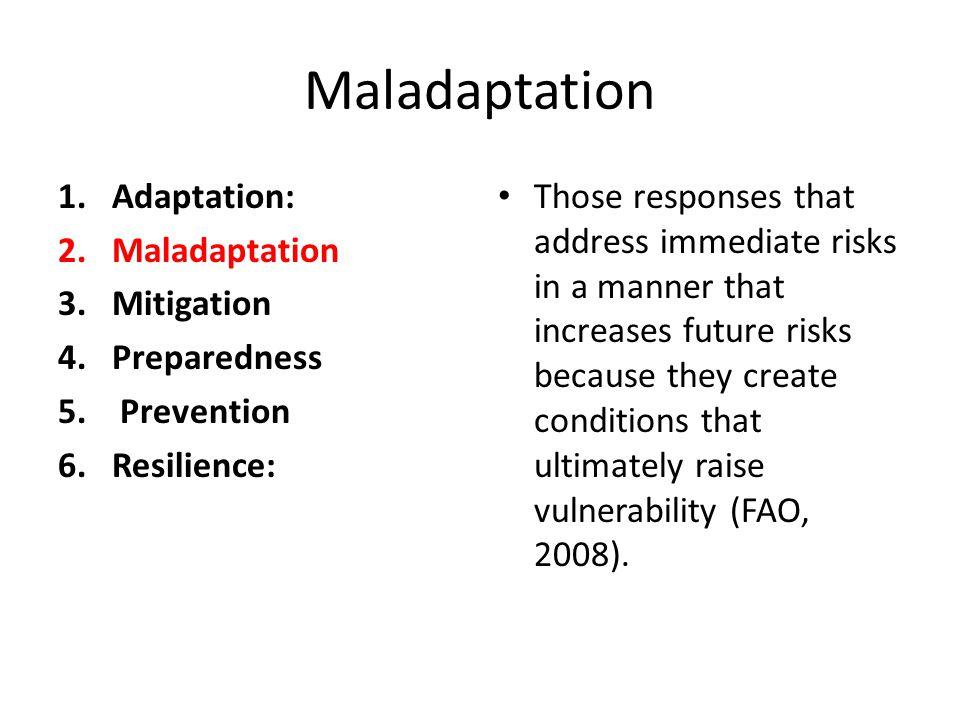 Maladaptation 1.Adaptation: 2.Maladaptation 3.Mitigation 4.Preparedness 5. Prevention 6.Resilience: Those responses that address immediate risks in a