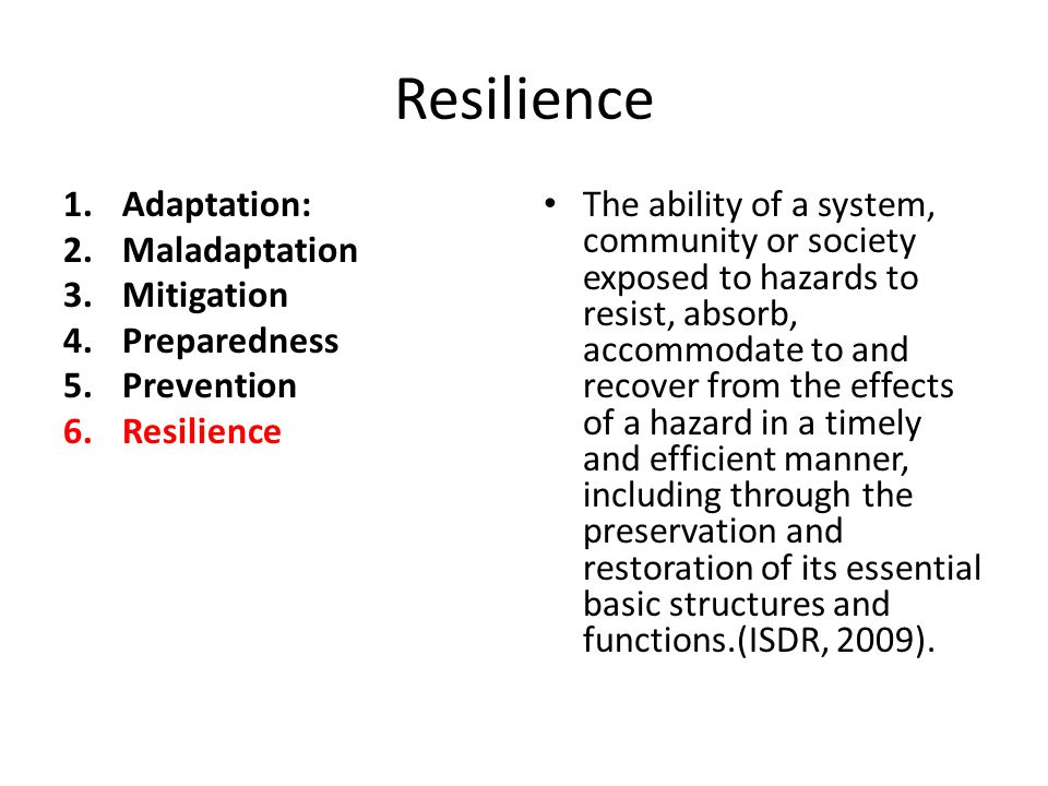 Resilience 1.Adaptation: 2.Maladaptation 3.Mitigation 4.Preparedness 5.Prevention 6.Resilience The ability of a system, community or society exposed to hazards to resist, absorb, accommodate to and recover from the effects of a hazard in a timely and efficient manner, including through the preservation and restoration of its essential basic structures and functions.(ISDR, 2009).