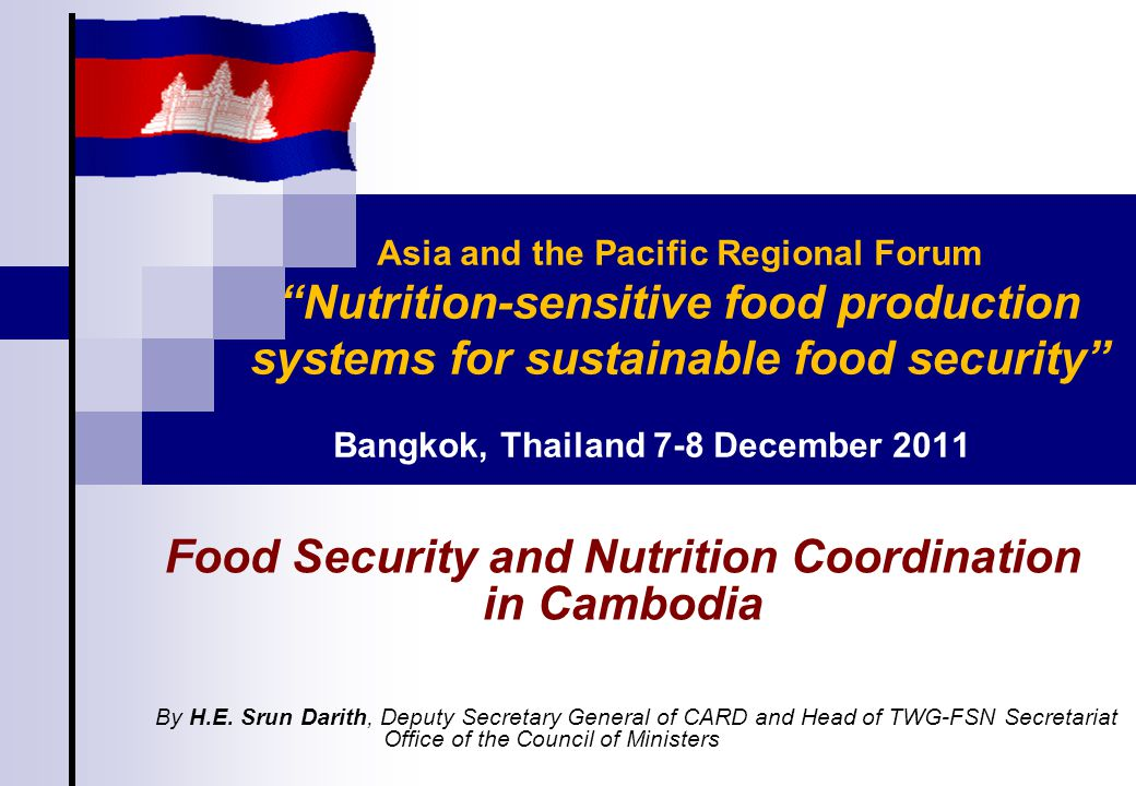 TWG-FSN  Co-chaired by CARD & MoP, and facilitated by WFP;  Created in 2005 as a joint Government-donor Working Group responsible for the coordination in FSN issues;  Its members are representatives from relevant ministries, donor/UN agencies, and selected NGOs;  FSN-Information Management Taskforce  Co-chaired by CARD and NIS/MoP  Established in late 2009  To coordinate different FSN-related information systems in Cambodia 11 FSN Coordination and Networking Mechanism (Con't)