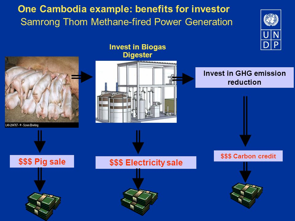 $$$ Pig sale $$$ Electricity sale $$$ Carbon credit Invest in Biogas Digester Invest in GHG emission reduction One Cambodia example: benefits for investor Samrong Thom Methane-fired Power Generation