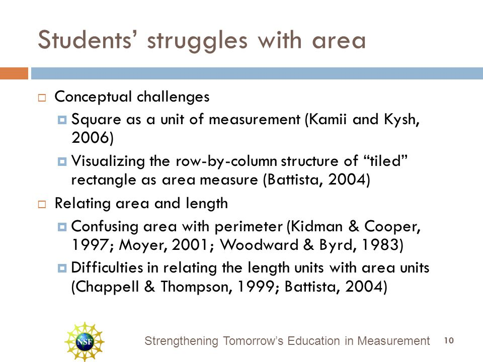 Strengthening Tomorrow's Education in Measurement Students' struggles with area  Conceptual challenges  Square as a unit of measurement (Kamii and Kysh, 2006)  Visualizing the row-by-column structure of tiled rectangle as area measure (Battista, 2004)  Relating area and length  Confusing area with perimeter (Kidman & Cooper, 1997; Moyer, 2001; Woodward & Byrd, 1983)  Difficulties in relating the length units with area units (Chappell & Thompson, 1999; Battista, 2004) 10