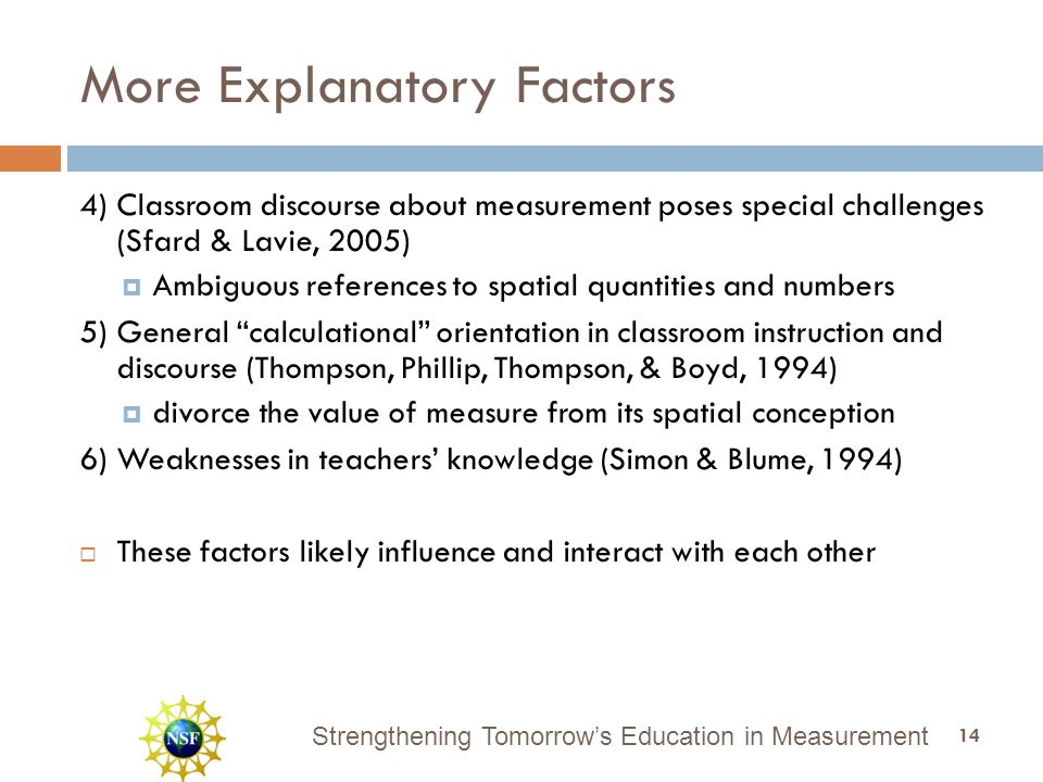 Strengthening Tomorrow's Education in Measurement More Explanatory Factors 4) Classroom discourse about measurement poses special challenges (Sfard & Lavie, 2005)  Ambiguous references to spatial quantities and numbers 5) General calculational orientation in classroom instruction and discourse (Thompson, Phillip, Thompson, & Boyd, 1994)  divorce the value of measure from its spatial conception 6) Weaknesses in teachers' knowledge (Simon & Blume, 1994)  These factors likely influence and interact with each other 14