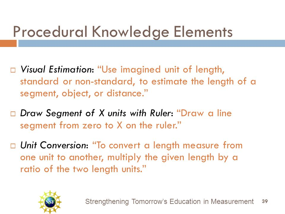 "Strengthening Tomorrow's Education in Measurement  Visual Estimation: ""Use imagined unit of length, standard or non-standard, to estimate the length"