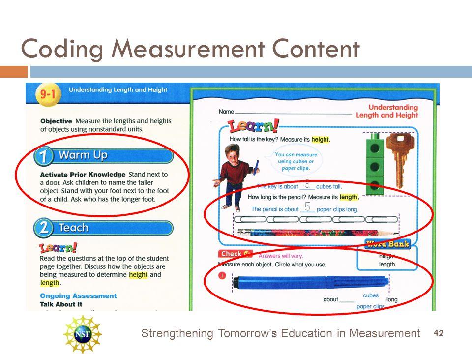 Strengthening Tomorrow's Education in Measurement Coding Measurement Content 42