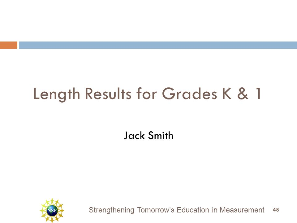 Strengthening Tomorrow's Education in Measurement Length Results for Grades K & 1 Jack Smith 48