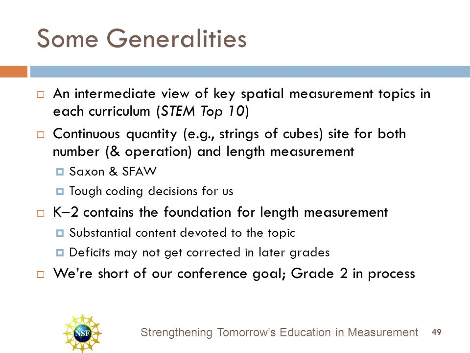 Strengthening Tomorrow's Education in Measurement Some Generalities  An intermediate view of key spatial measurement topics in each curriculum (STEM