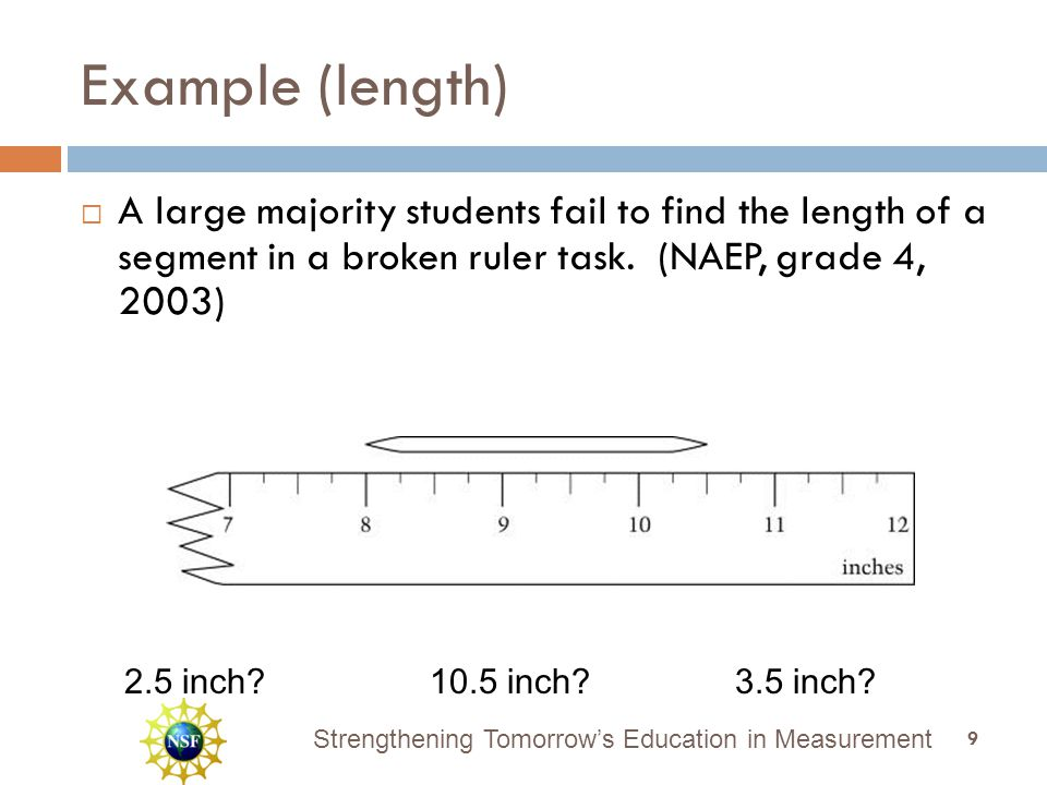 Strengthening Tomorrow's Education in Measurement Example (length)  A large majority students fail to find the length of a segment in a broken ruler task.