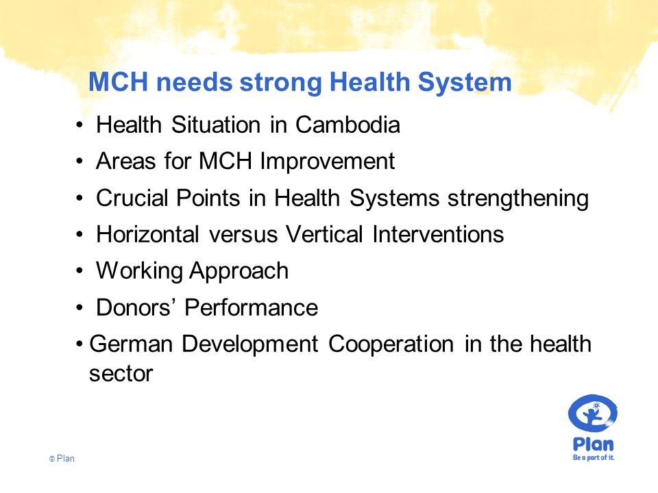 © Plan MCH needs strong Health System Health Situation in Cambodia Areas for MCH Improvement Crucial Points in Health Systems strengthening Horizontal versus Vertical Interventions Working Approach Donors' Performance German Development Cooperation in the health sector