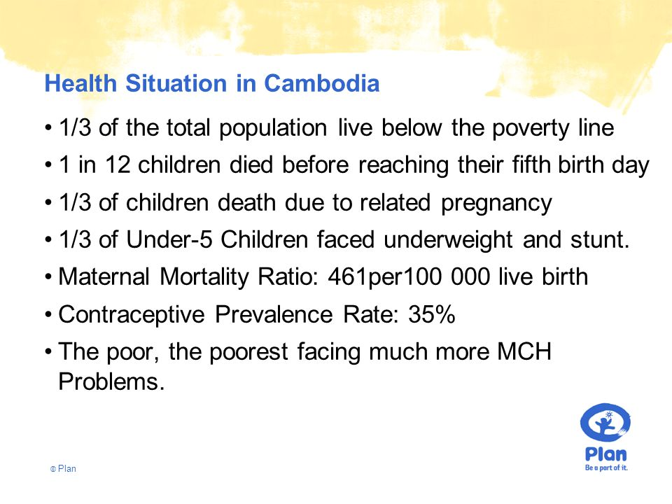 © Plan Health Situation in Cambodia 1/3 of the total population live below the poverty line 1 in 12 children died before reaching their fifth birth day 1/3 of children death due to related pregnancy 1/3 of Under-5 Children faced underweight and stunt.