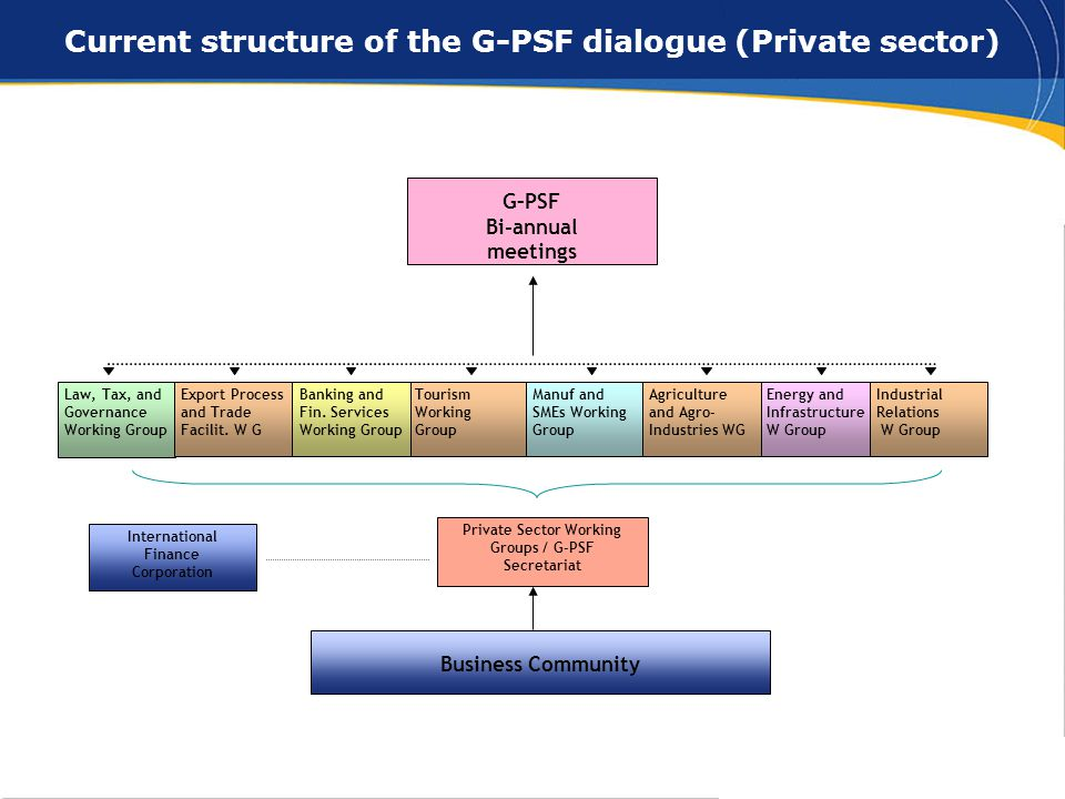 8 Current structure of the G-PSF dialogue (Private sector) Private Sector Working Groups / G-PSF Secretariat International Finance Corporation Business Community G–PSF Bi-annual meetings Law, Tax, and Governance Working Group Tourism Working Group Banking and Fin.