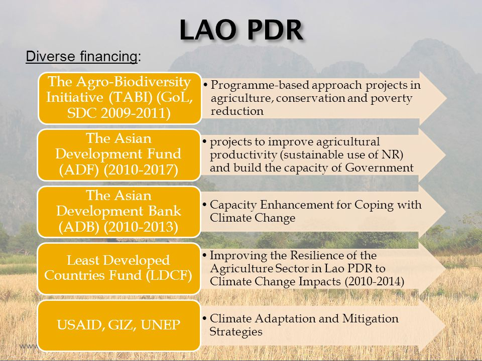 LAO PDR Diverse financing: Programme-based approach projects in agriculture, conservation and poverty reduction The Agro-Biodiversity Initiative (TABI) (GoL, SDC 2009-2011) projects to improve agricultural productivity (sustainable use of NR) and build the capacity of Government The Asian Development Fund (ADF) (2010-2017) Capacity Enhancement for Coping with Climate Change The Asian Development Bank (ADB) (2010-2013) Improving the Resilience of the Agriculture Sector in Lao PDR to Climate Change Impacts (2010-2014) Least Developed Countries Fund (LDCF) Climate Adaptation and Mitigation Strategies USAID, GIZ, UNEP