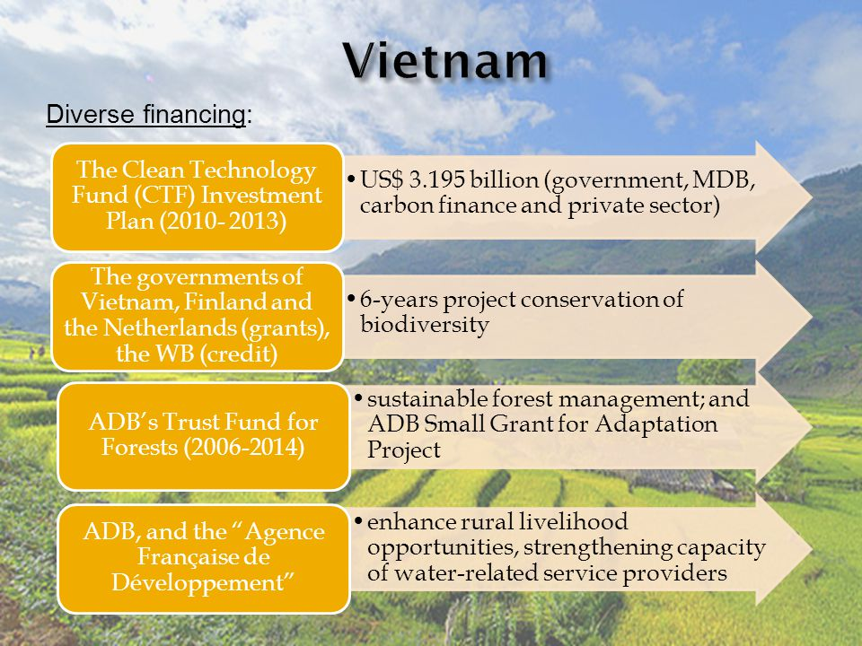 Diverse financing: US$ 3.195 billion (government, MDB, carbon finance and private sector) The Clean Technology Fund (CTF) Investment Plan (2010- 2013) 6-years project conservation of biodiversity The governments of Vietnam, Finland and the Netherlands (grants), the WB (credit) sustainable forest management; and ADB Small Grant for Adaptation Project ADB's Trust Fund for Forests (2006-2014) enhance rural livelihood opportunities, strengthening capacity of water-related service providers ADB, and the Agence Française de Développement