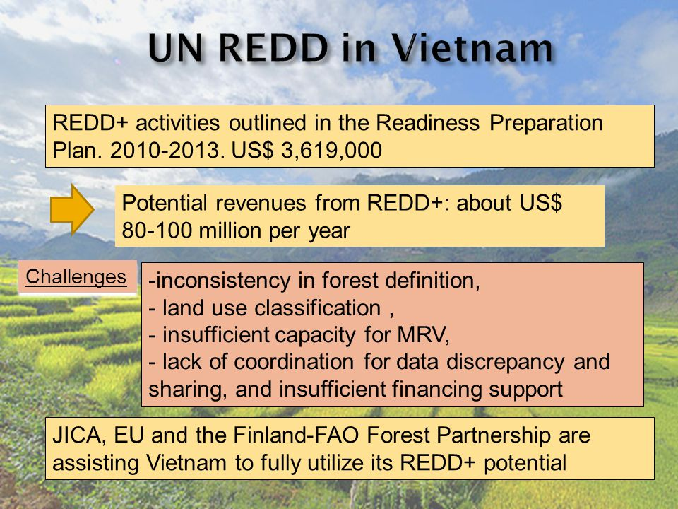 REDD+ activities outlined in the Readiness Preparation Plan.