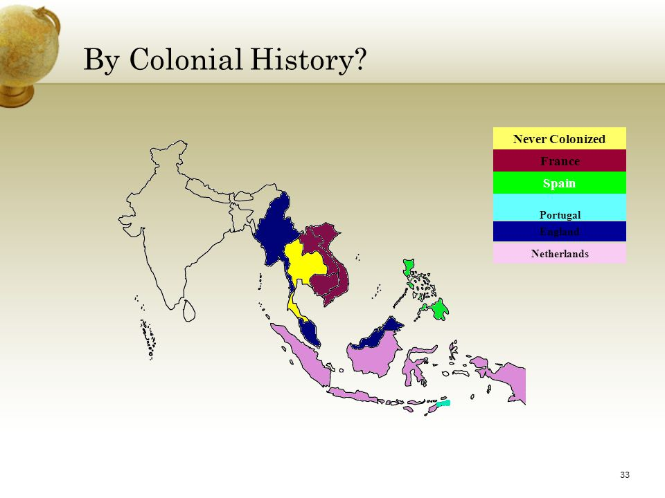 By Colonial History France Spain Portugal England Netherlands Never Colonized 33