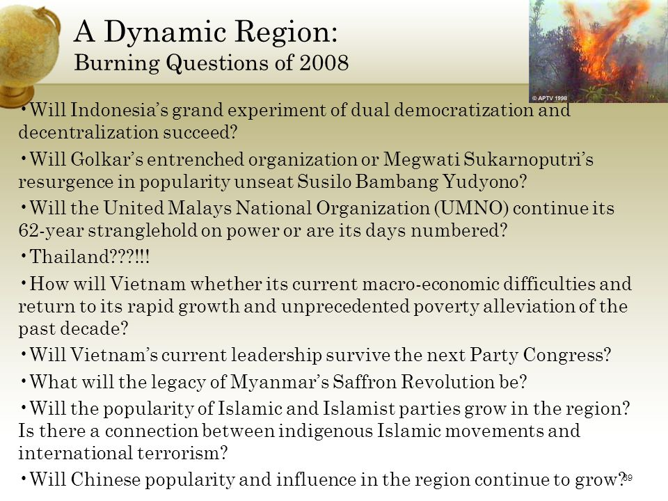 A Dynamic Region: Burning Questions of 2008 Will Indonesia's grand experiment of dual democratization and decentralization succeed.