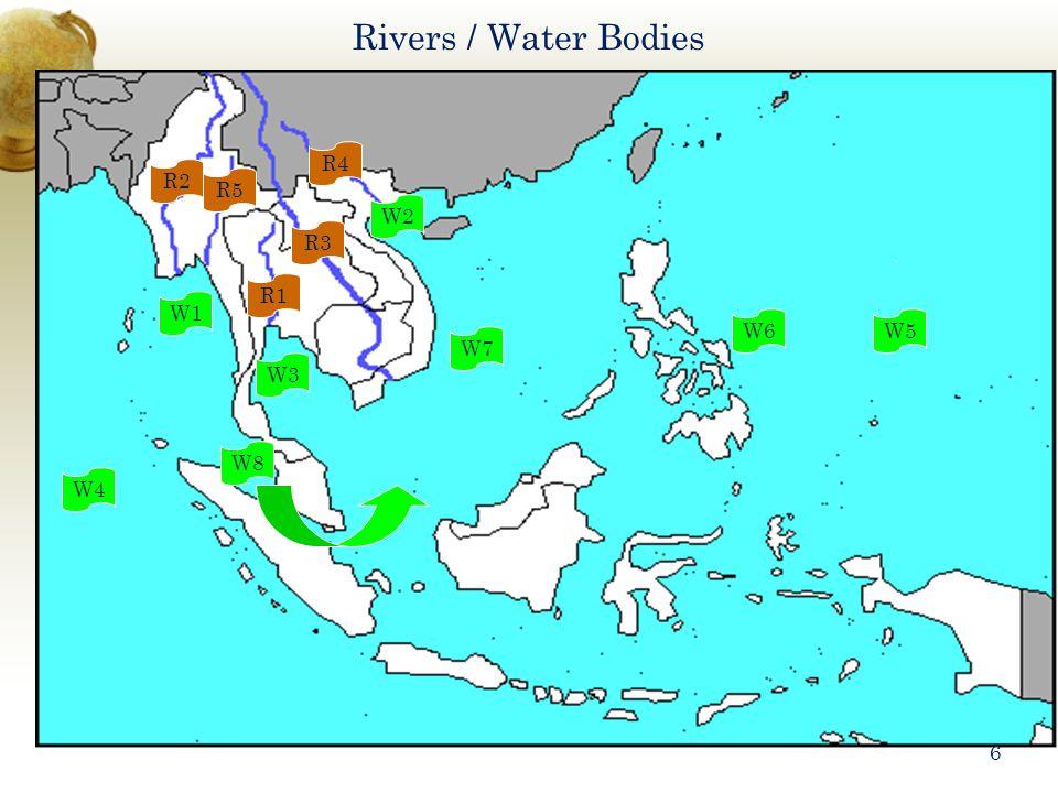 Rivers / Water Bodies R1 R2 R3 R4 R5 W1 W2 W3 W4 W5W6 W7 W8 6
