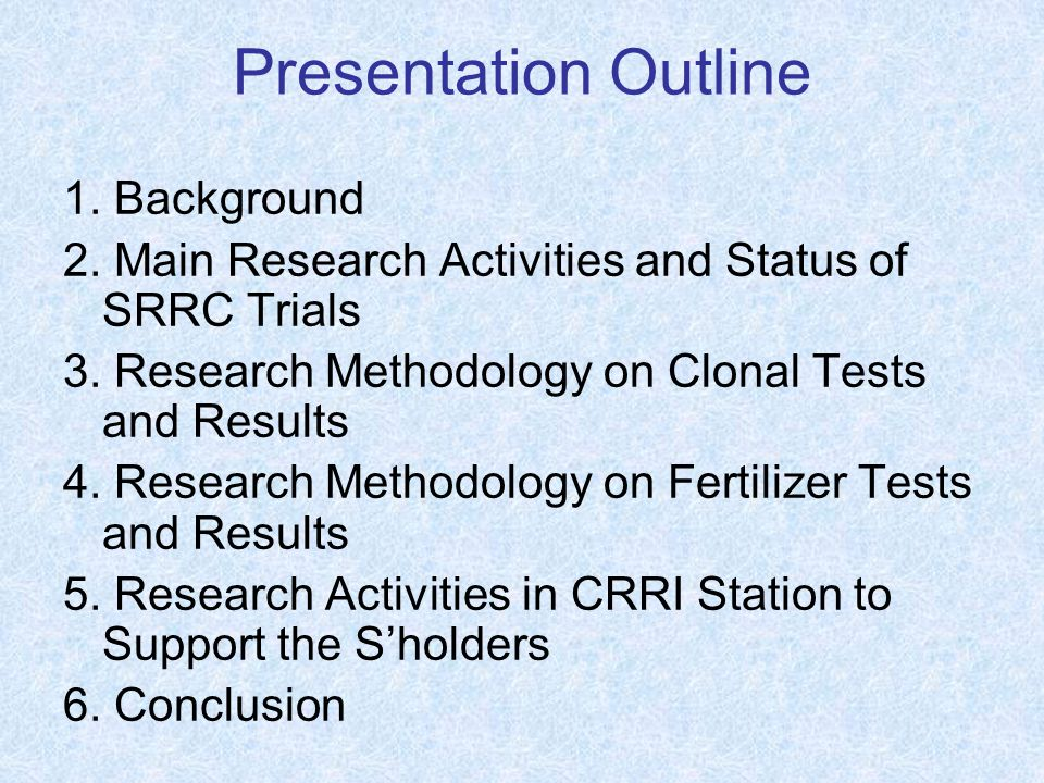 Presentation Outline 1. Background 2. Main Research Activities and Status of SRRC Trials 3.