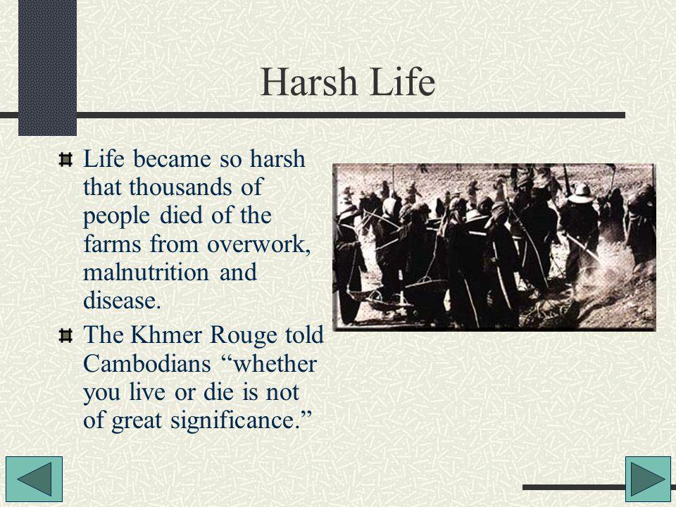 Harsh Life Life became so harsh that thousands of people died of the farms from overwork, malnutrition and disease.
