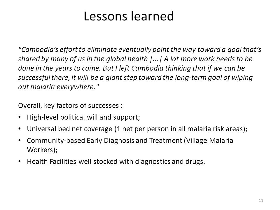 11 Lessons learned