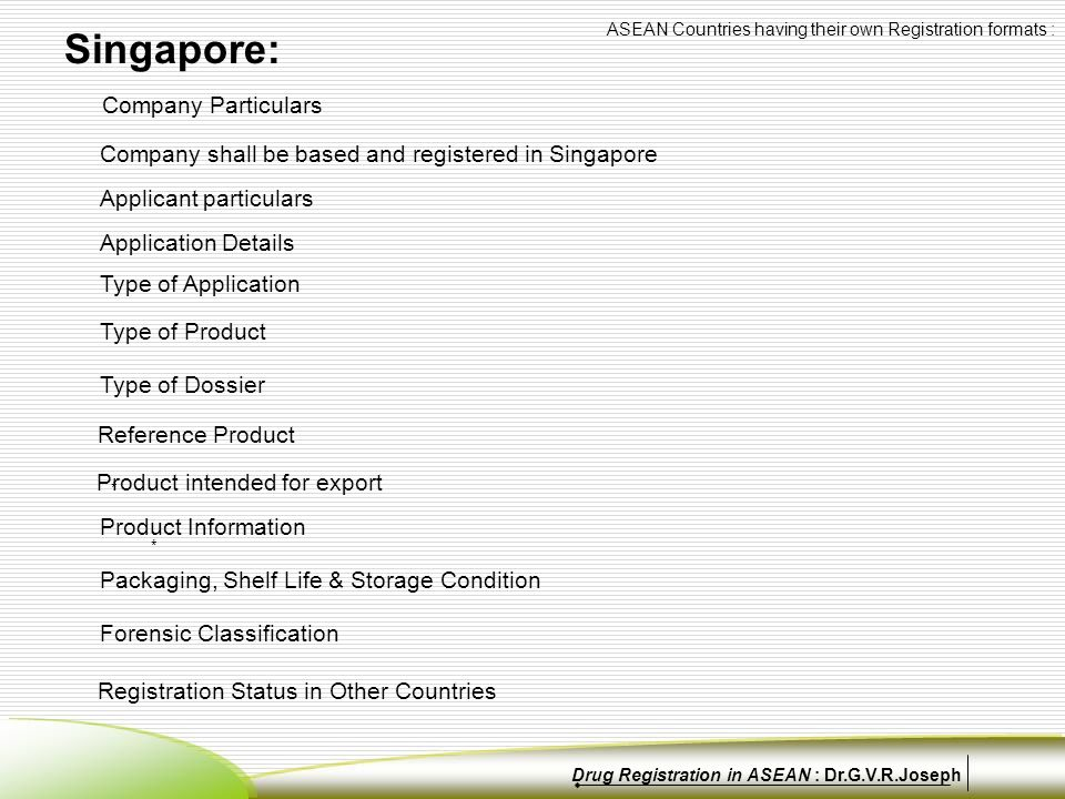Company Particulars Company shall be based and registered in Singapore Applicant particulars Application Details Type of Application Type of Product * ** * Reference Product Product intended for export Type of Dossier Product Information Singapore: Packaging, Shelf Life & Storage Condition Forensic Classification Registration Status in Other Countries ASEAN Countries having their own Registration formats : Drug Registration in ASEAN : Dr.G.V.R.Joseph