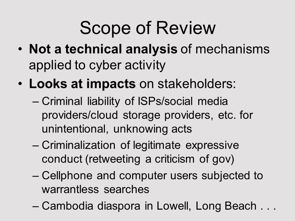 What it pulls together: Comments from: –AIC (Asia Internet Coalition – includes Google, Twitter, Facebook, etc) –Electronic Freedom Foundation, International Center for Not-For-Profit-Law (ICNL), Article 19, East-West Management Institute –CCHR, LICADHO, CCC, Etc.
