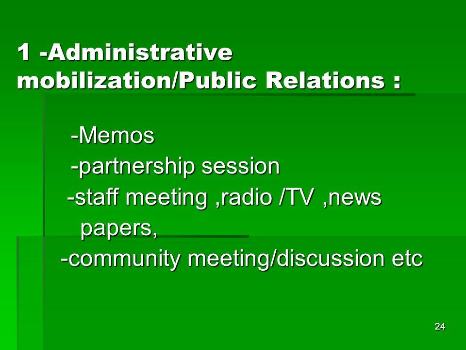 24 1 -Administrative mobilization/Public Relations : -Memos -partnership session -staff meeting,radio /TV,news -staff meeting,radio /TV,news papers, p