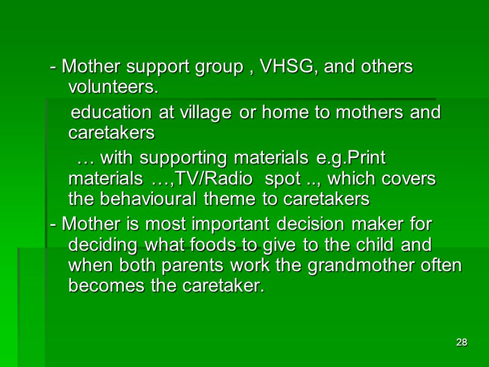 28 - Mother support group, VHSG, and others volunteers.