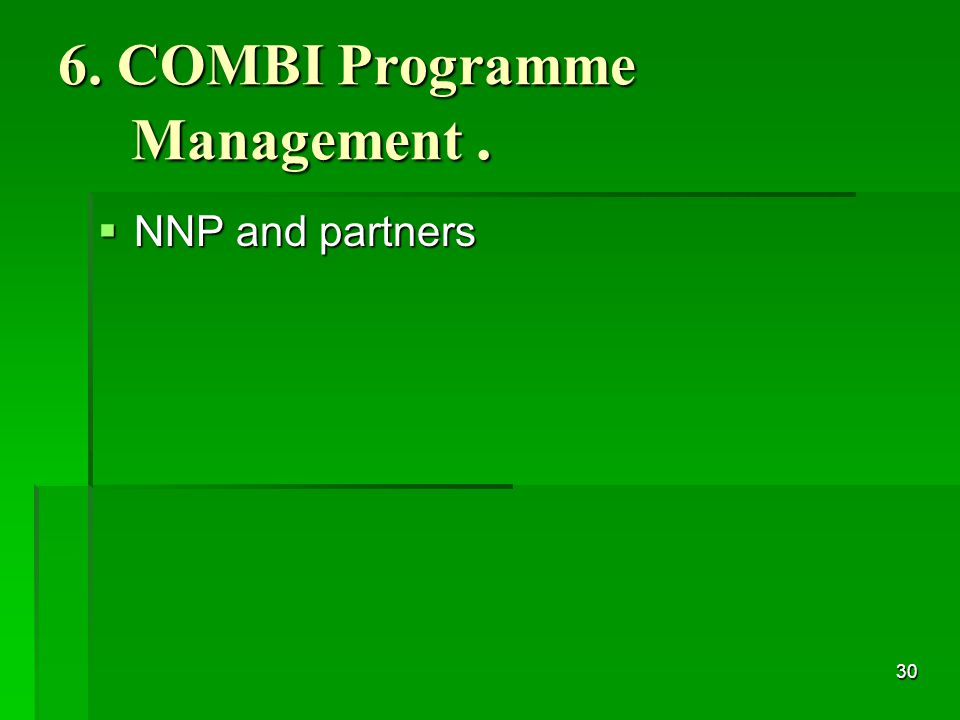 30 6. COMBI Programme Management.  NNP and partners