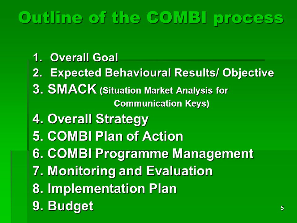 5 Outline of the COMBI process 1.Overall Goal 2.Expected Behavioural Results/ Objective 3.SMACK (Situation Market Analysis for 3.SMACK (Situation Mark