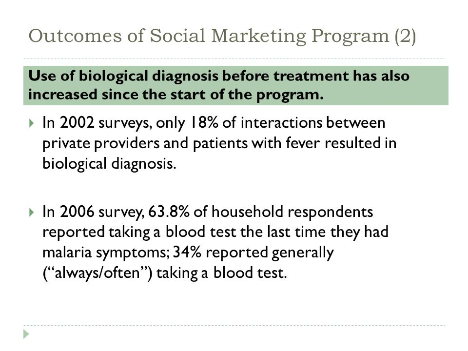 Outcomes of Social Marketing Program (2) Use of biological diagnosis before treatment has also increased since the start of the program.