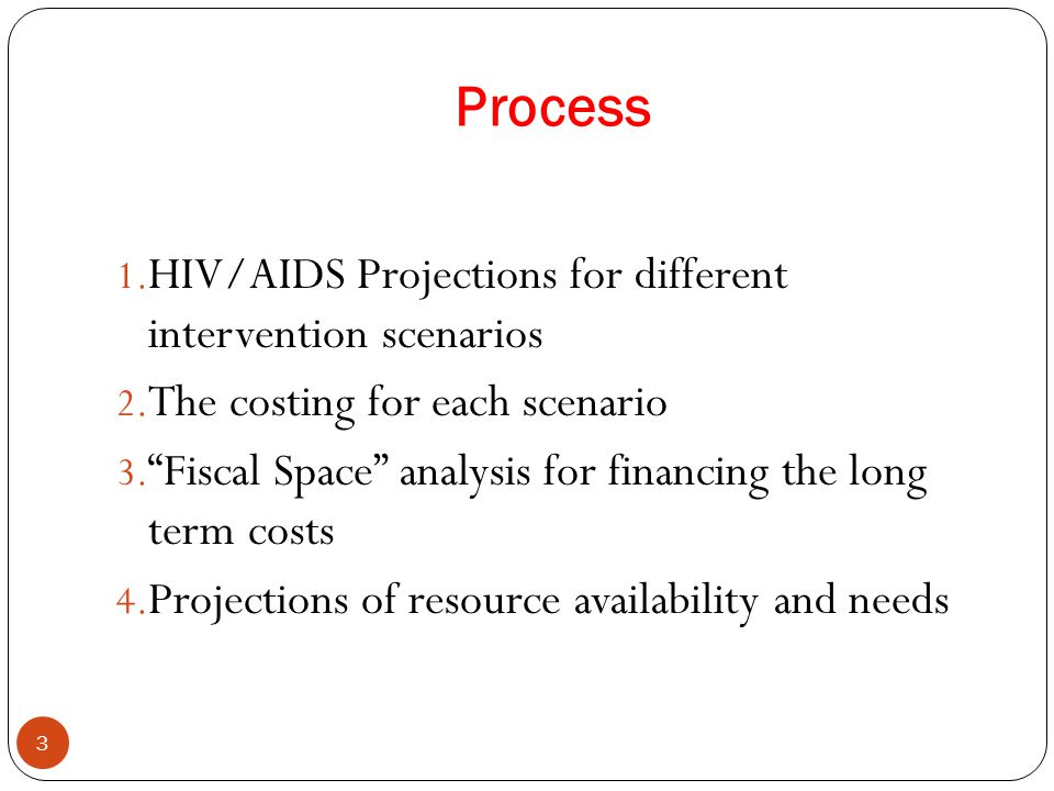 Process 3 1. HIV/AIDS Projections for different intervention scenarios 2.
