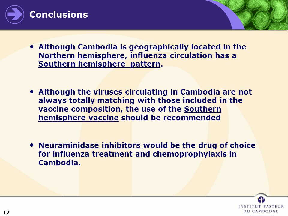 12 Conclusions Although Cambodia is geographically located in the Northern hemisphere, influenza circulation has a Southern hemisphere pattern.
