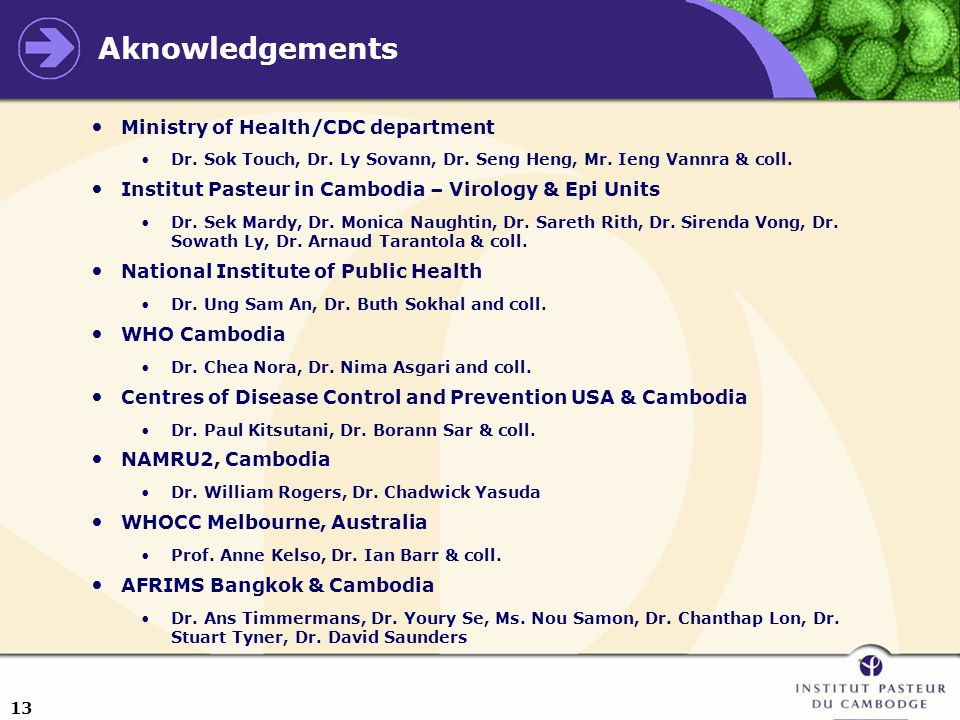 13 Aknowledgements Ministry of Health/CDC department Dr.