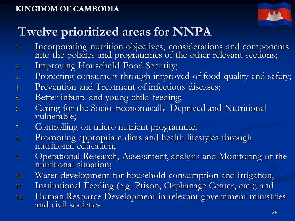 KINGDOM OF CAMBODIA 28 Twelve prioritized areas for NNPA 1.