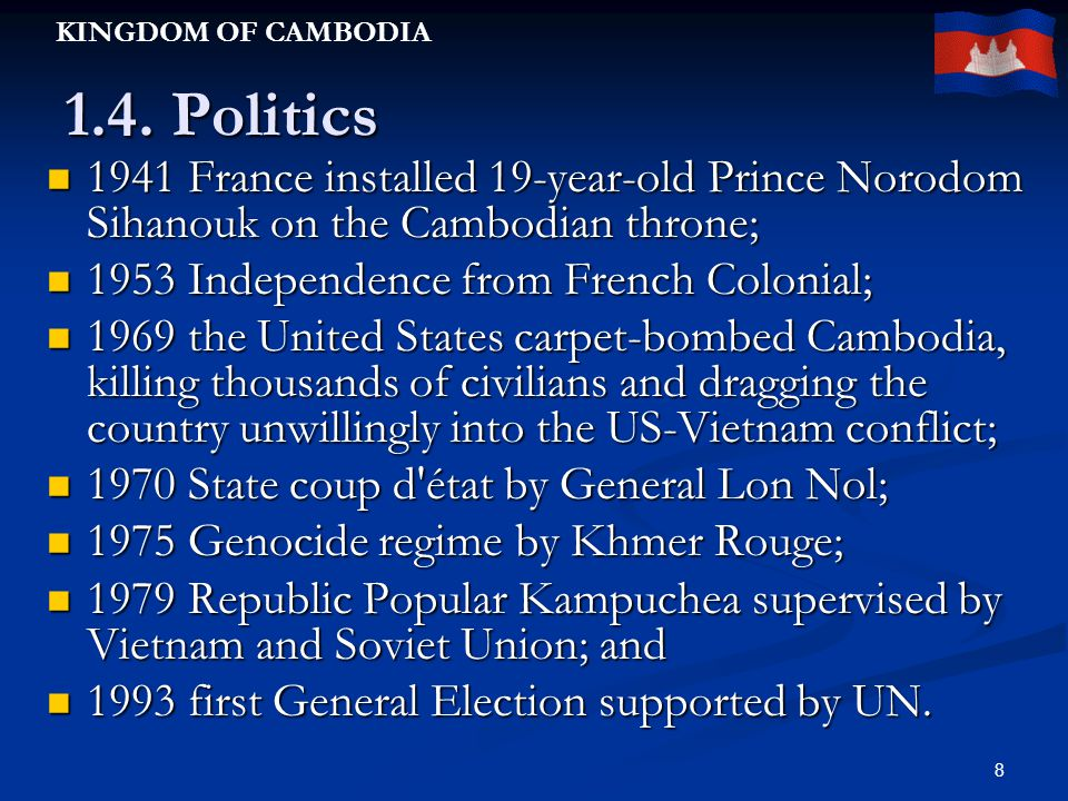 KINGDOM OF CAMBODIA 8 1.4.