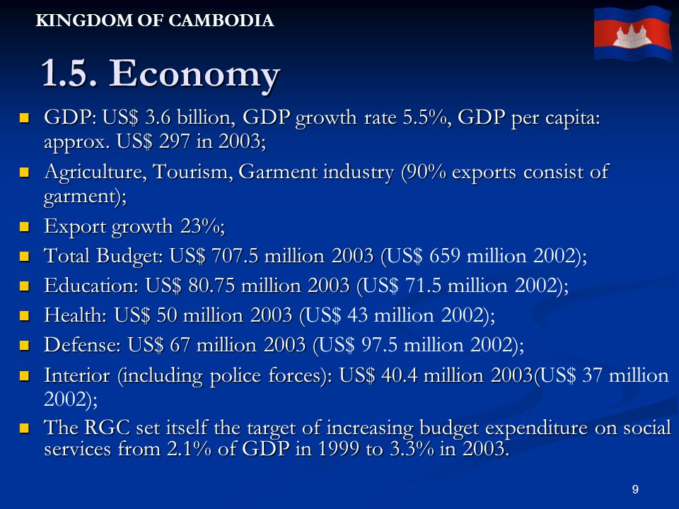KINGDOM OF CAMBODIA 9 1.5.